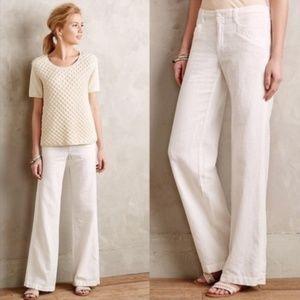 Anthropologie Pilcro Linen Trousers Beige